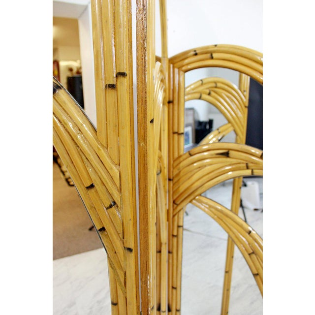 Late 20th Century 1970s Mid-Century Modern 3 Panel Rattan and Mirror Folding Screen Room Divider For Sale - Image 5 of 8