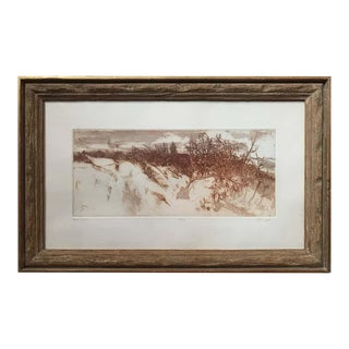 """""""Sand Dunes"""" Sepia Landscape Etching by Ruth Leaf For Sale"""