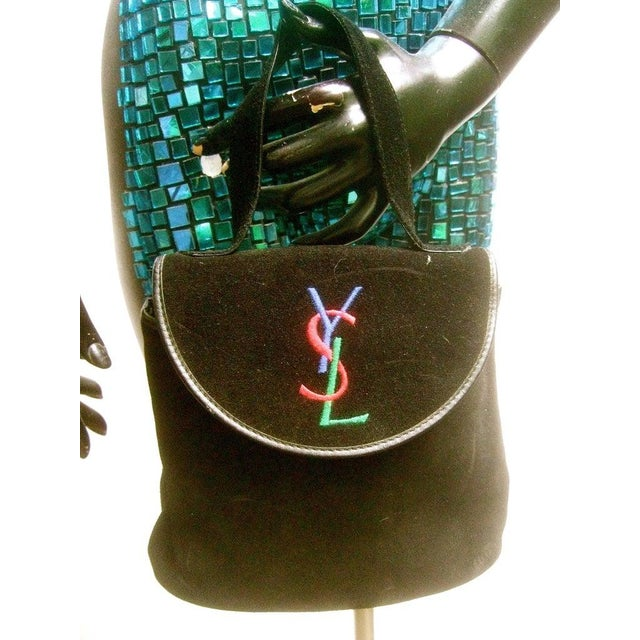French Yves Saint Laurent Chic Black Suede Ysl Embroidered Handbag C 1990s For Sale - Image 3 of 8