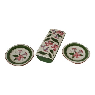 Vintage Stangl Pink Lily Cigarette Box With Matching Ashtrays - 4 Piece Set For Sale
