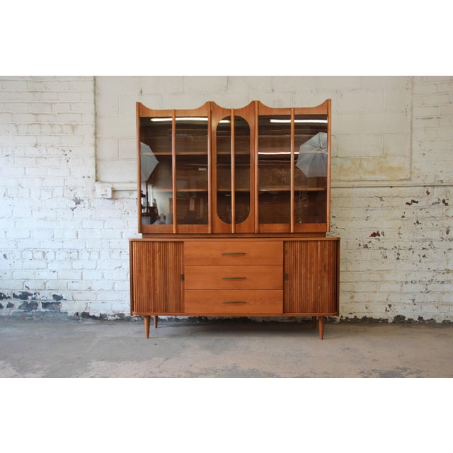 Mid-Century Modern Tambour Door Sideboard Credenza with Glass Front Hutch Top For Sale - Image 11 of 11