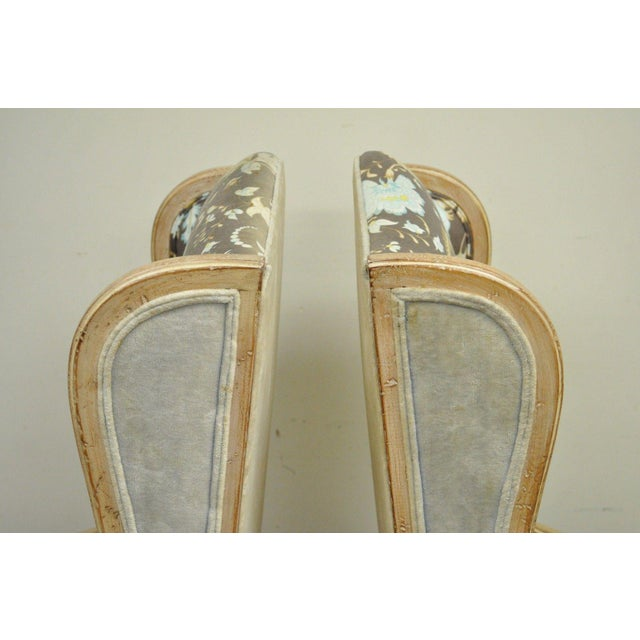 Pair of Hollywood Regency French Country Carved Wing Back Fireside Lounge Chairs - Image 8 of 11