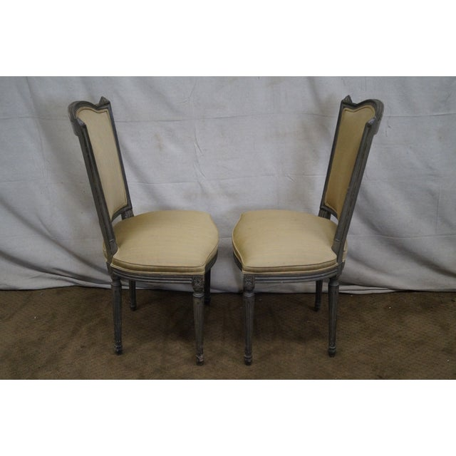 Vintage Painted French Louis XVI Style Dining Chairs - Set of 6 - Image 9 of 10