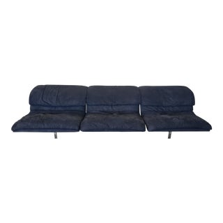 """Black Ultra Suede """"Wave"""" Sofa by Saporiti For Sale"""