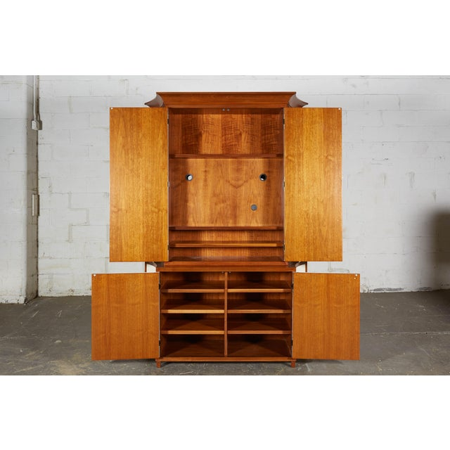 Wood Neoclassical Mahogany and Faux Parchment Media Cabinet For Sale - Image 7 of 13