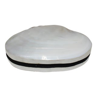 Pearlized Shell and Capiz Shell Trinket Box Velvet Lining For Sale