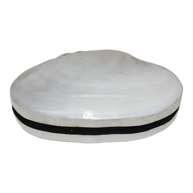 Pearlized Shell and Capiz Shell Trinket Box Velvet Lining For Sale