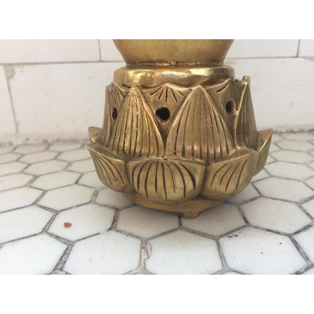 Hands on Lotus Brass Incense Burner - Image 5 of 8