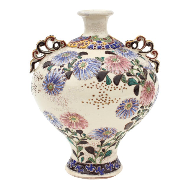 Antique Kyoto Style Japanese Satsuma Vase Chairish