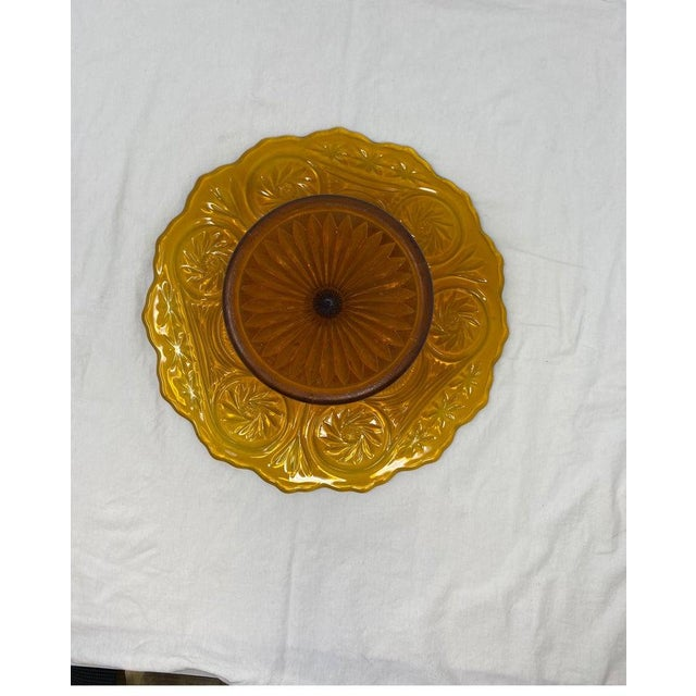 Mid 20th Century Amber Glass Patisserie Stand For Sale - Image 5 of 7