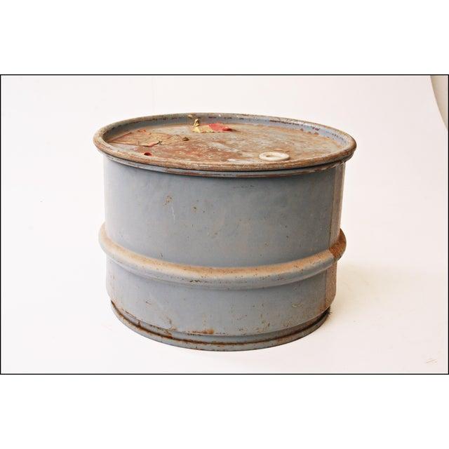 Vintage Industrial Gray Metal Barrel with Lid - Image 3 of 11