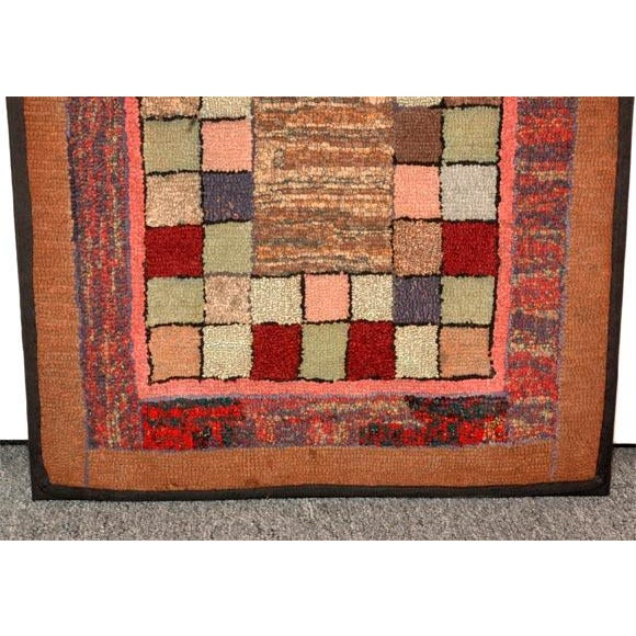 Textile 1930s Mounted Blocks Hand-Hooked Rug For Sale - Image 7 of 7