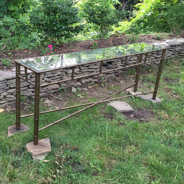 Vintage Faux Bamboo Metal Sofa Console Table - Image 8 of 11