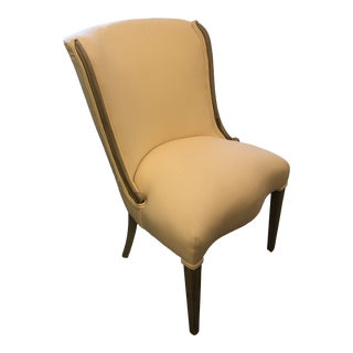 Antiqued Silver Wood Frame Linen Upholstered Chair For Sale