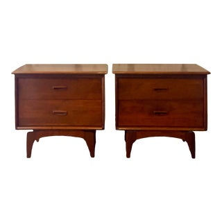 Midcentury Pierced Apron Nightstands - a Pair