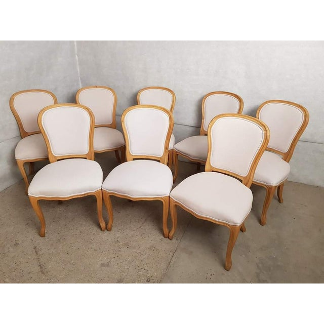 Set of 8 Louis XV French Natural Oak Dining Chairs Upholstered in Belgian Linen For Sale - Image 13 of 13