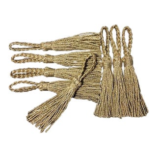 Late 20th Century Vintage Metallic Gold Cord Tassel Napkin Rings- Set of 8 For Sale