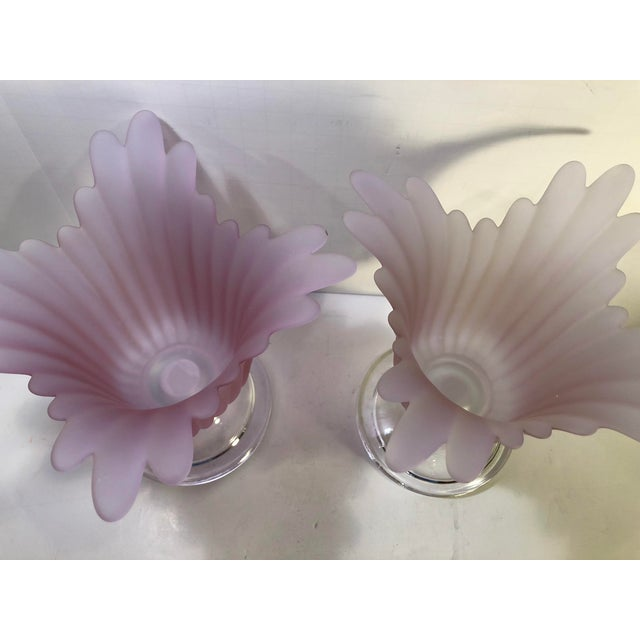Pink 1970s Vintage Tulip Shaped Candle Holders- Set of 3 For Sale - Image 8 of 9