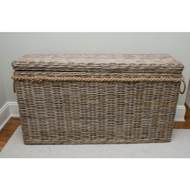 Driftwood Gray Rattan Wicker Blanket Storage Chest - Image 2 of 5