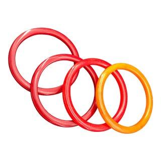 Set Bakelite Bracelets Oranges Reds Swirls Cherry For Sale