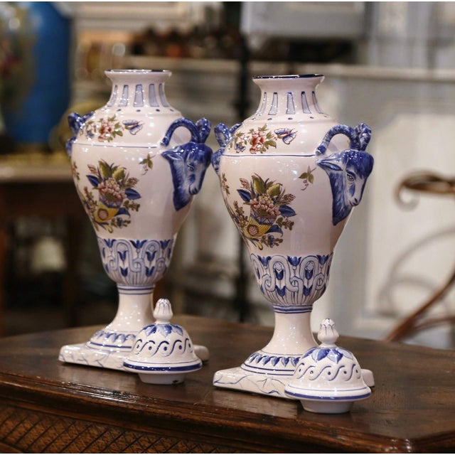 """Ceramic Pair of Mid-Century French Hand Painted Faience """"Saint Clement"""" Urns With Lids For Sale - Image 7 of 13"""