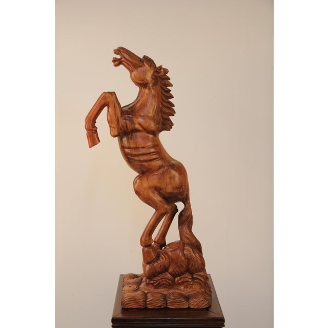Country Carved Solid Mahogany Prancing Horse For Sale - Image 3 of 4