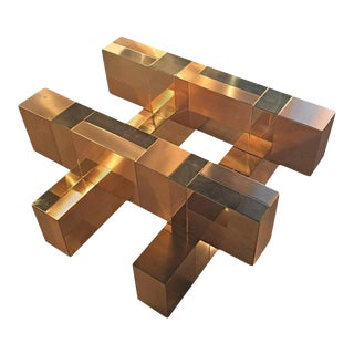 Paul Evans Brass Patchwork Coffee Cocktail Table