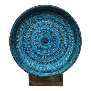 Aldo Londi for Bitossi Ceramic Blue Charger For Sale