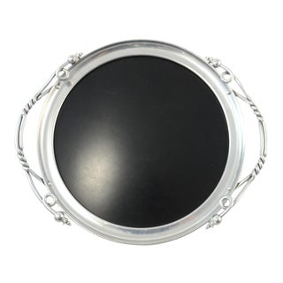 Mid-Century Silver & Black Tray For Sale