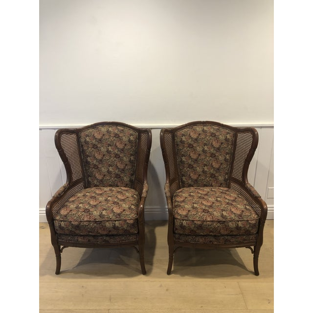 1990s Vintage Ethan Allen Faux Bamboo Rattan Cane Wingback Arm Chairs- A Pair For Sale - Image 12 of 12