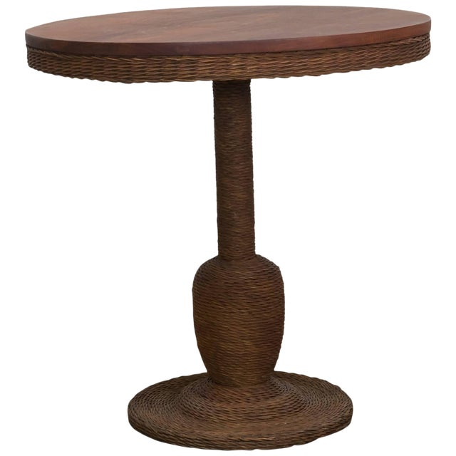 Wicker and Wood Pedestal Table For Sale