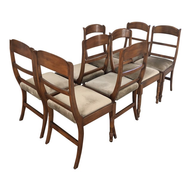 ecf21096bc170 Vintage Mid-Century Traditional Dining Chairs - Set of 8 For Sale