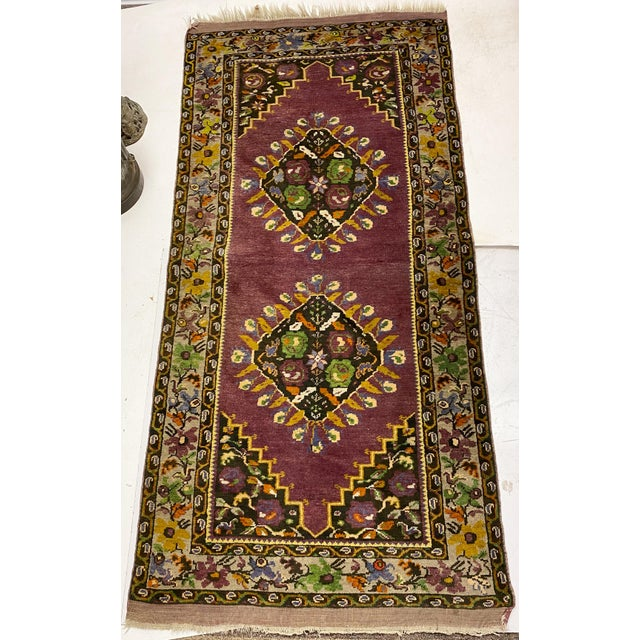 Purple Tehranian Hand Woven Purple Floral Wool Rug For Sale - Image 8 of 9