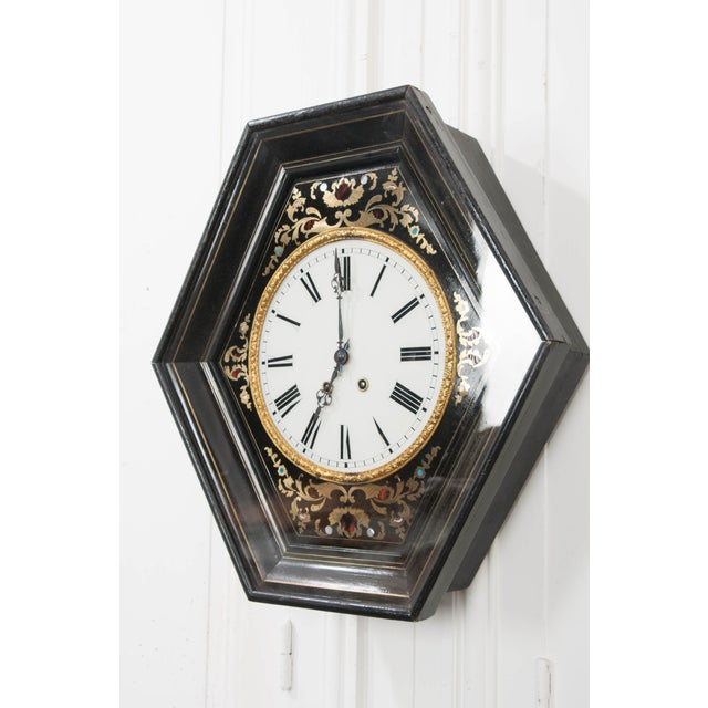 19th Century French Boulle-Inlaid Hexagonal Wall Clock For Sale In Baton Rouge - Image 6 of 8