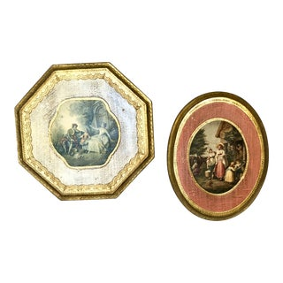 1940s Italian Florentine Wall Art Plaques - a Pair For Sale