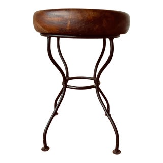 Mid-Century Modern Round Solid Wooden Slab Stool With Iron Legs For Sale