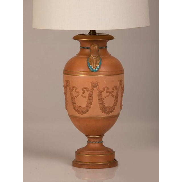 Antique Italian Neoclassical Terracotta Urn Now Mounted as a Lamp, circa 1880 For Sale - Image 4 of 7