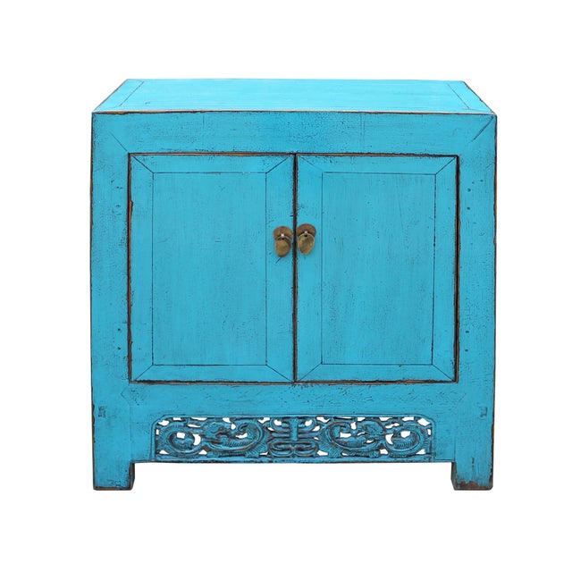 Chinese Distressed Rustic Bright Turquoise Blue Foyer Console Table Cabinet For Sale In San Francisco - Image 6 of 9