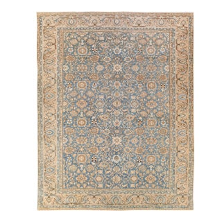 Antique Malayer Handmade Floral Designed Blue and Beige Wool Rug For Sale