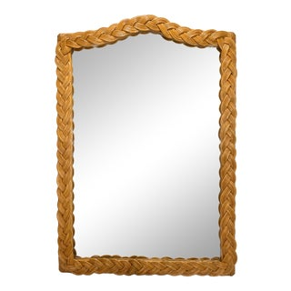 1950s Braided Wicker Camel Back Mirror For Sale