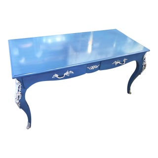 French Provincial Blue Writing Desk W/ Silver Accents For Sale