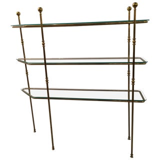Mid-Century Modern Brass and Glass Etagere Console For Sale