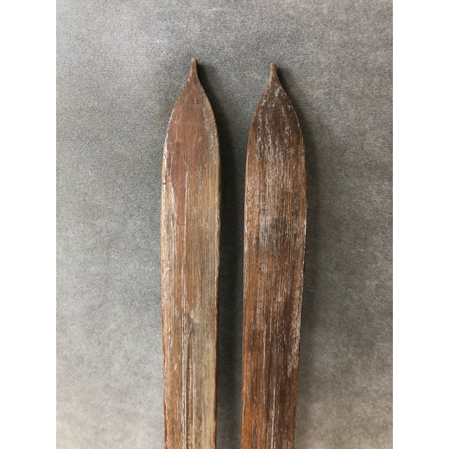 Vintage Rustic Wood Skis - a Pair For Sale - Image 12 of 13