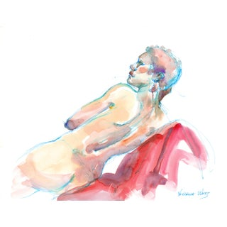 """Q Is for Queen"" Original Female Nude Watercolor Painting For Sale"