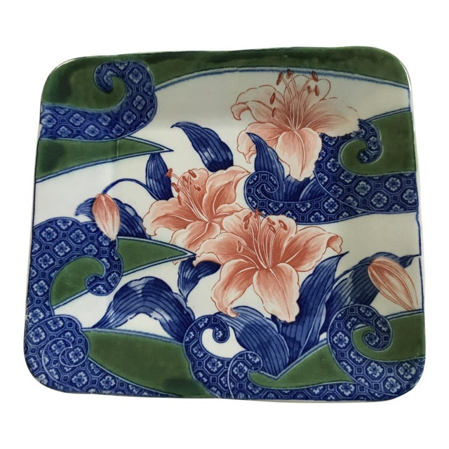 20th Century Japanese Toyo Serving Platter in Orchid Motif For Sale