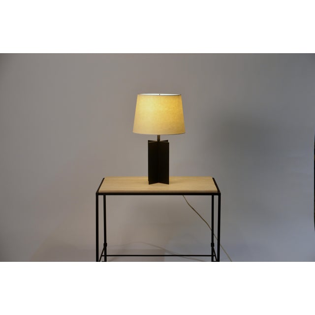 Medium 'Croisillon' Matte Black Steel Table Lamps by Design Frères - a Pair For Sale In Los Angeles - Image 6 of 11