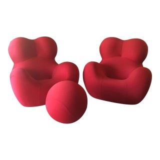 B&b Italia Up Series 2000 Gaetano Pesce Chairs & Ottoman - Set of 3