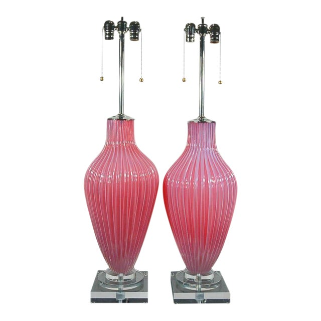 Marbro Murano Opaline Glass Table Lamps Pink For Sale - Image 10 of 10