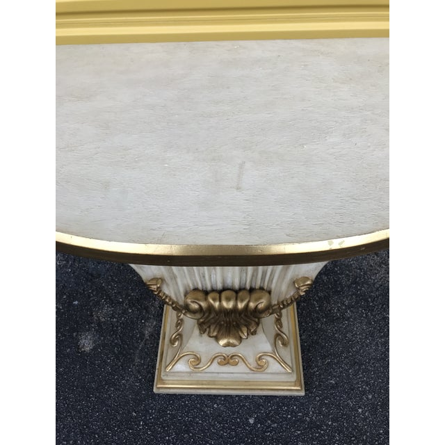 Wood Hollywood Regency Shell Console Table For Sale - Image 7 of 11