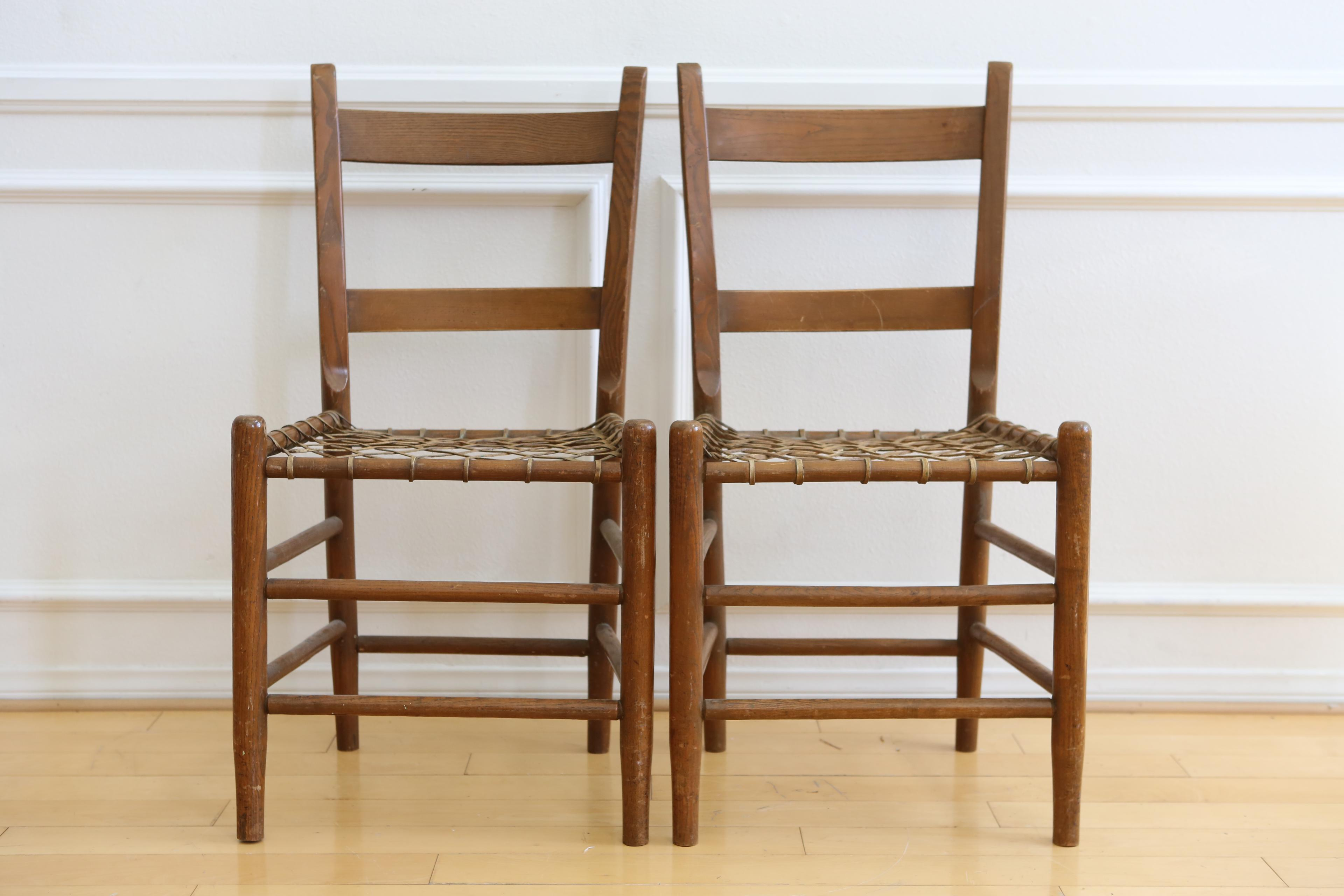 19th C Vintage Rustic Primitive Rawhide Woven Chair   A Pair   Image 2 Of 11